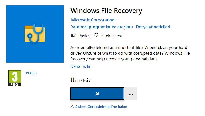 Microsoft, Microsoft Mağazası için Windows Dosya Kurtarma Aracı'nı Yayımladı